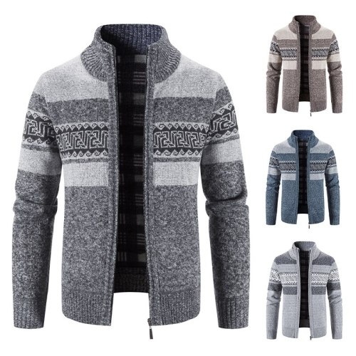 Men's knits autumn/winter fleece thick warm wool sweater coat hoodie pullover zipper cardigan fashion camouflage jacket