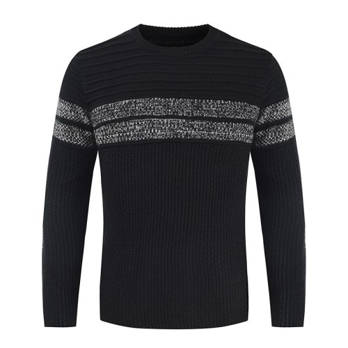 Mens Sweater Autumn Winter Round Neck Pullover Knitted Sweaters Long Sleeve Striped Contrast Daily Work Tops
