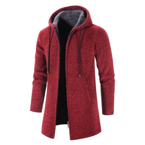 2021 Autumn Solid Cardigan Men's Fashion Sweaters Long Sleeves Casual Coats Thick Slim Warm Male Spring Winter