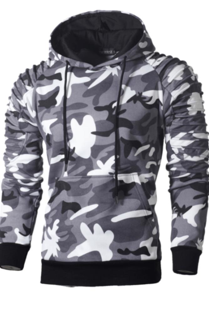 Mens Casual Slim Camouflage Windbreaker Sweatshirt Hooded Mens Streetwear Hip Hop Hoodies Sportswear Tracksuits