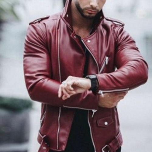 Leather Jackets Men Autumn Long Sleeve Stand Collar Jackets Winter Zipper mont Black Wine Red Faux Leather Coats куртка мужская