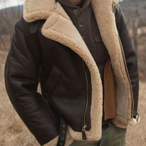 Fashion Men'S Thickened Deep Coffee Fur One Long Sleeve Artificial Fur Coat Winter Jacket Men Leather Jacket Shopping Punk Style