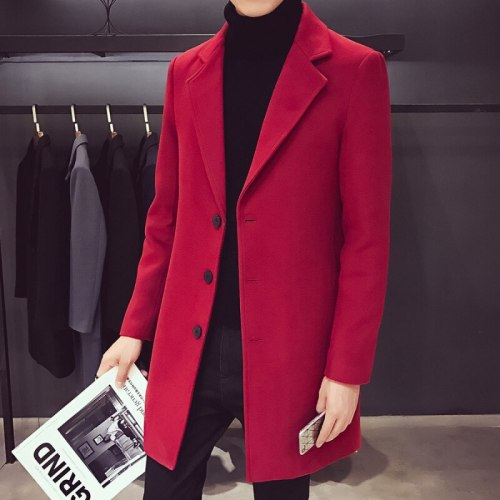 New 2021Men Wool Jacket Mens Casual Business Trench Coat Mens Leisure Overcoat Male Punk Style Blends Dust Coats Jackets