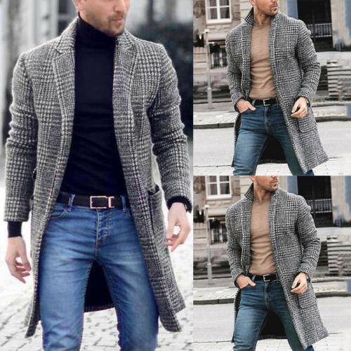 Men's Wool Blends Coats Korean Male Warm Clothes Wool Overcoat 2020 Autumn Black White Plaid Blends Long Men Jacket Plus Size