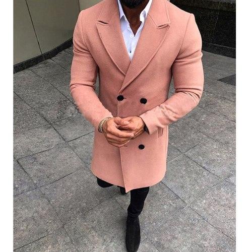 Men's Woolen Coat New Fashion Winter Warm Blends Coats Turndown collar Outwear Overcoat 2020 Long Sleeve Solid Jacket Mens
