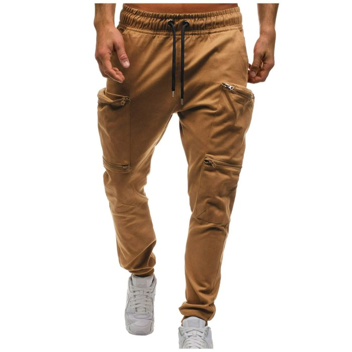 Sport Casual Cargo Pants Men's Jogger Mid-waist Lace-up Zipper Pocket Fashion Casual Sports Jogging Pants Sweatpants Trousers