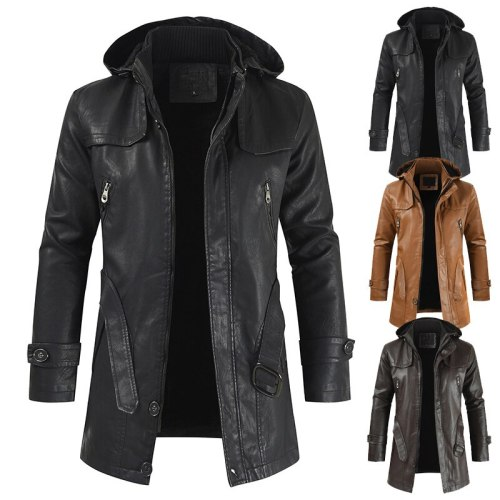 Leather Jacket Men Streetwear Long Leather Coats 2021 New Casual Fashion PU Hooded Slim-fitting Leather Jacket for Men