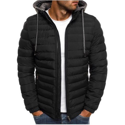 2021  Winter Hooded Jackets Padded jacket men Thicken Warm Lightweight Parkas  New Males Windproof Jackets