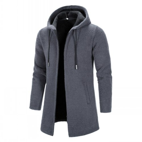 Men Winter Hooded Sweaters Long Cardigan Sweatercoats New Male Thicker Warm Slim Cardigans High Quality Men Casual Hoodies 3XL