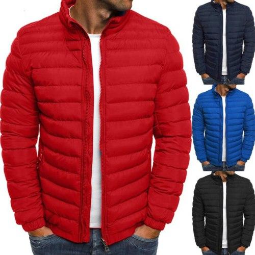 Mens Parka Jacket Winter Coat Men Cotton Puffer Jacket Solid Plus Size Overcoat Zipper Streetwear Casual Jacket Men