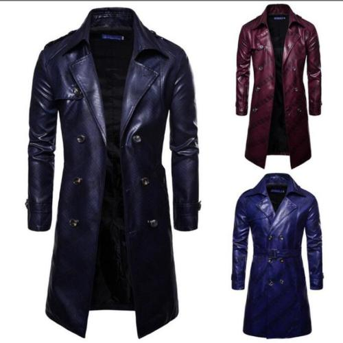 Men Trench Coat Homme  Mens New Fashion Long PU leather Trench Coat Autumn Long Jacket For Men Slim Fit Winter Warm Coat Mens