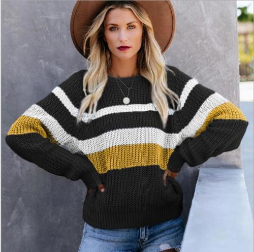 Autumn new leisure loose stitching knit sweater top bottoming shirt round neck contrast color long-sleeved sweater women