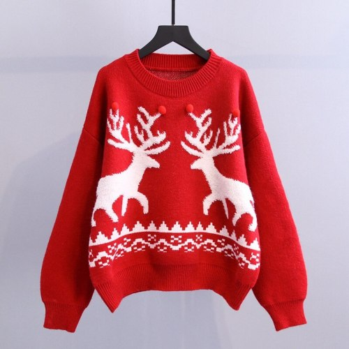 Fashion Clothing for Womens Knitted Sweater Ugly Christmas  Vintage Sweaters  Fall Winter 2021 Women Pullover