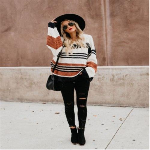 Winter O-Neck Casual Loose Long Sweaters Streetwear Warm Outerwear 2021 Fashion Striped Color Block Oversized