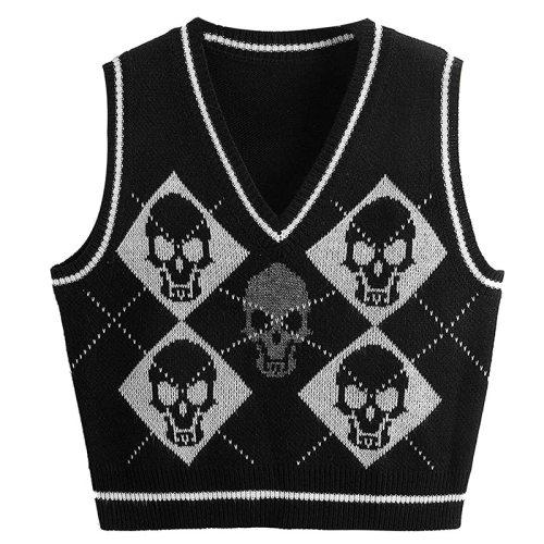 Gothic Knit Sweater Vest Skull Argyle Print Pattern Knitwear V-neck Pullover Fashion Jumper Top Women Halloween Streetwear