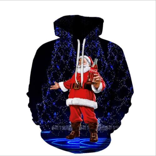 Oversized Santa Christmas Couples Sweaters Ugly Funny Party Holiday Xmas Jumpers Tops Mens Womens Unisex Hooded Sweatshirts Coat