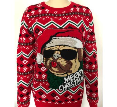 Christmas Dog Knitted Santa Claus Xmas Funny Printing Streetwear Long Sleeve Warm Autumn Casual Clothing