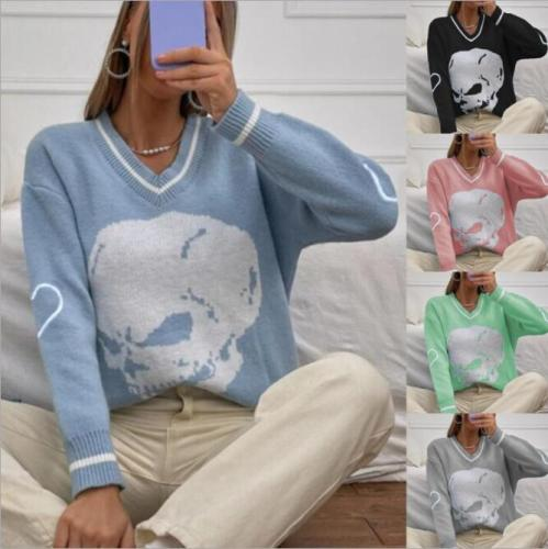 Skulls Printing Oversize Sweater Women Casual Spring Autumn Acrylic Long Sleeve Pullovers V-Neck Knitted Woman Sweaters