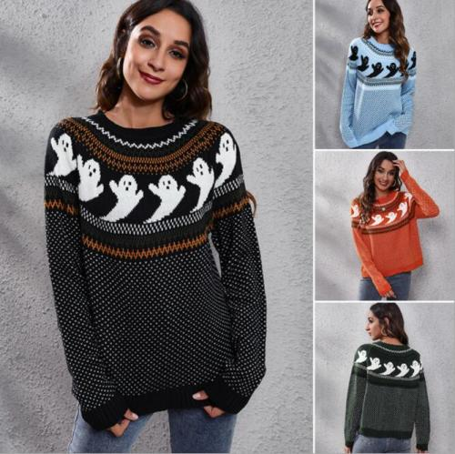 Yangelo Ghost Pattern Knit Sweater Women 2021 Fashion Winter Warm Long Sleeve Loose Comfortable Pullover Black Gothic Girl Top