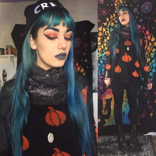 Gothic Pumpkin Pattern Sweater Grunge Aesthetic Women Knit Top Halloween Party Loose Long Sleeves Warm Girl Pullover Steampunk