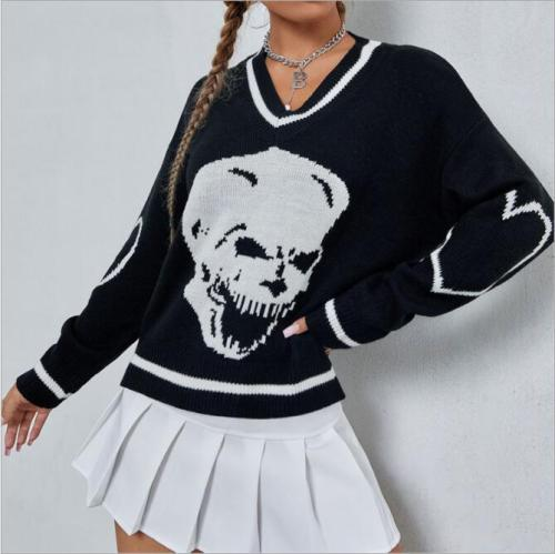 Spring Autumn Women Long Sleeve Skull Print Knit Sweaters Soft V-neck Loose Top Pullover JK Korean Preppy Style Jumper
