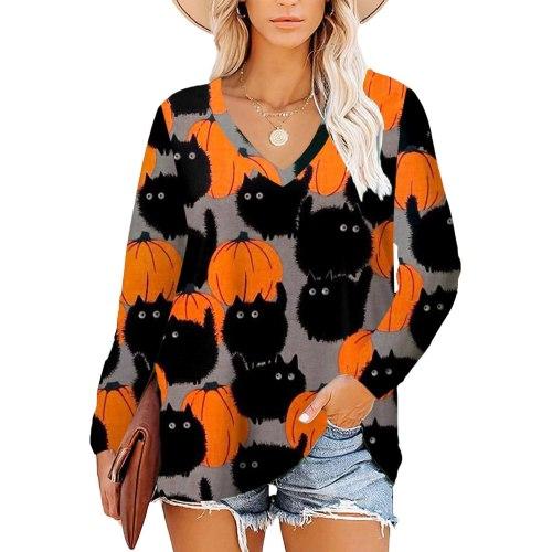 T-shirt Fashion Womens Cat  Print Long Sleeve V Neck Tunic Tops Basic Casual Autumn All-match Female T Shirt