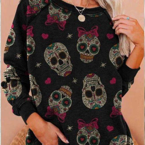 Colorful Weed Leef Sugar Skull Brand Design Women Pullover Hoodie Casual Spring Autumn Tops Long Sleeve Sweatshirt