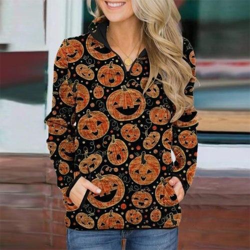 Autumn Winter Casual Stand Collar Zip Hoodies Women Long Sleeve Skull Print Sweatshirt Female Streetwear Loose Pocket Hoodie Top