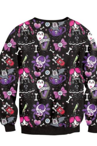 Brand New Fashion Women Hoodies Sweatshirt Skull Flower Girl Digital Printed Tracksuit Long Sleeve Sudaderas
