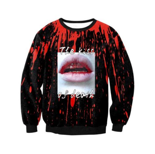 Oversized Halloween Festival Party Printed Skull Rose Sexy Women Long-sleeved Casual Pullover Sweatshirt Tracksuits