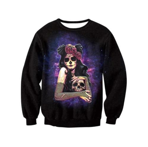 FASHION Oversized Women Fashion Halloween Skull Festival Party Long-sleeved Sweatshirt Casual Hoodie Pullover Clothes