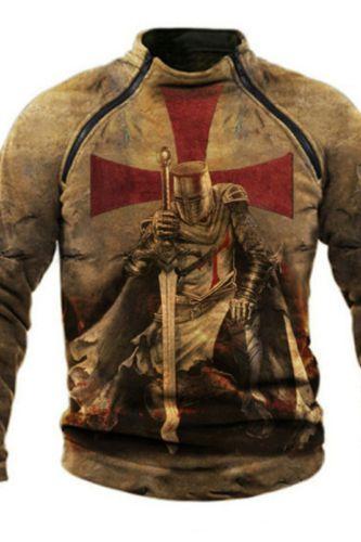Spring Knights Templar Print Retro Streetwear Hoodie Men Long Sleeve Zipper Stand Collar Breathable Tactical Pullover Sweatshirt