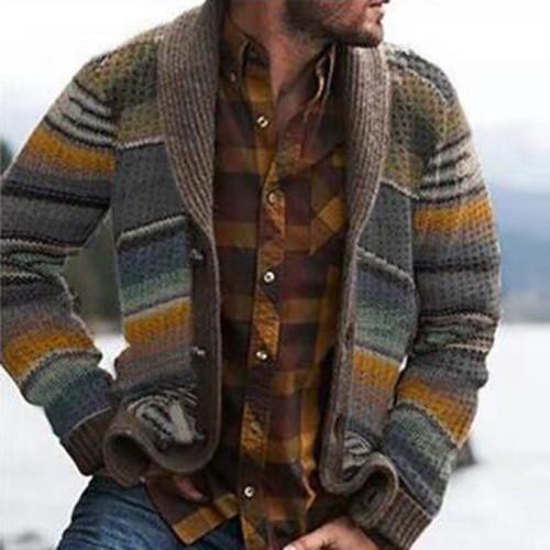 Men's Jacket Spring New Loose Printing Long-Sleeved Knitted Cardigan Jacket  Men's Plus Size