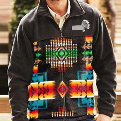 Loose Sweatshirts Men Large Size Spring Autumn Zipper Long Sleeve Top Lapel Print Men's Street Casual Sweatshirt