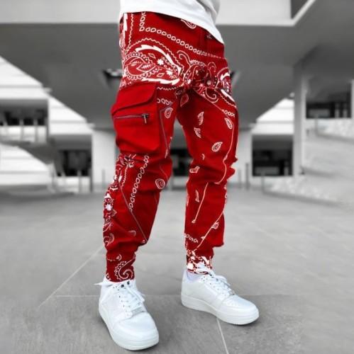 Vintage patterned casual loose mens pants