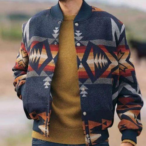 Large Size Men Jacket Long Sleeve Spring Thin Single-breasted Coat Fashion Print Pocket Casaul Street Jackets