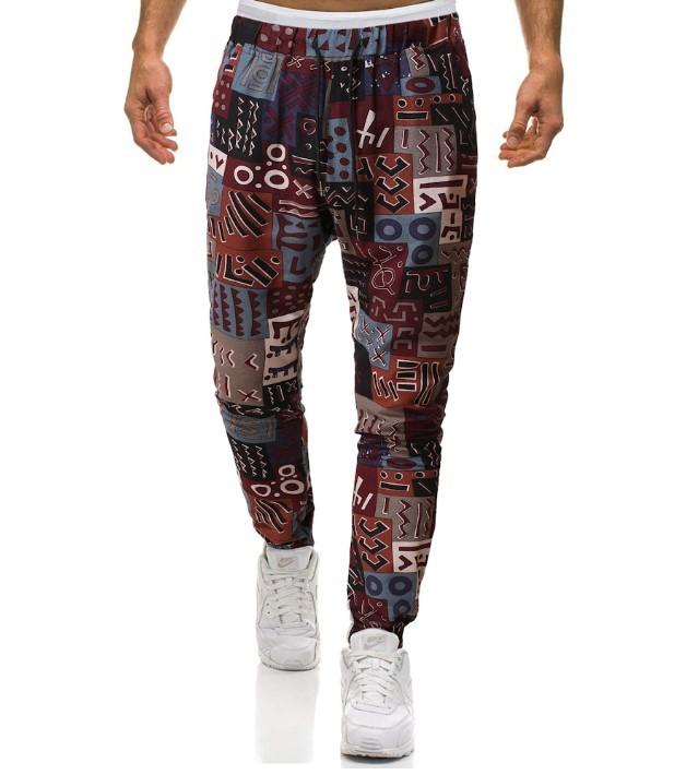 Vintage pattern casual loose mens pants