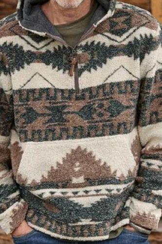 Men's New Pullover Hooded Sweatshirt Fashion Ethnic Printing Casual Streetwear Hip-Hop  Men's Sweatshirt Jacket