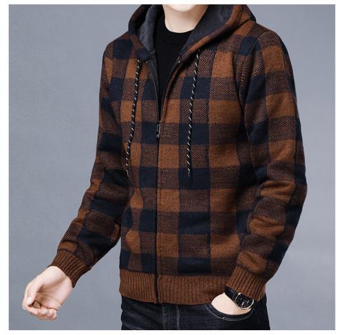 Fashion Mens Grid Splice Outerwear