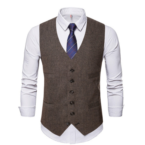Men's Work Single Breasted Denim Vest