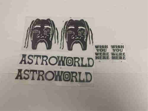 Colorful reflective in dark Astroworld Travis Scott heat transfers iron on designs shoe decals patches ready to press stickers face masks nike air force 1 shirts caps