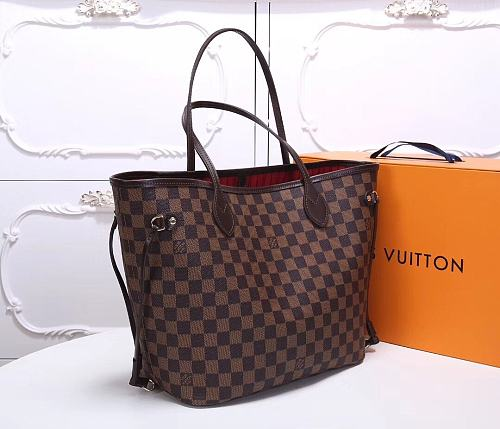 Highest Replica fake LOUIS VUITTON Monogram Canvas Neverfull MM 40996 Red Brown Grid