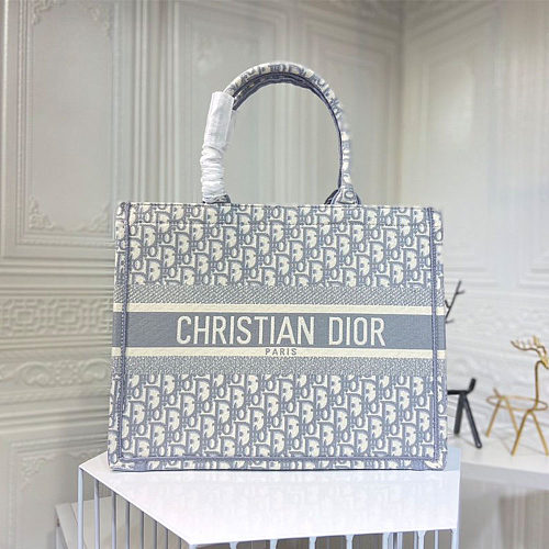 Fake Designer Bags DIOR Embroidery Shopping bag 0132 Grey