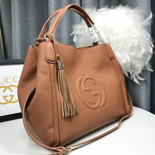 1:1 Replica GUCCI 336751 SOHO GRAINY LEATHER SHOULDER BAGS BROWN