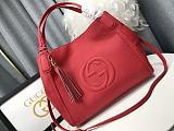 Highest Replica Fake GUCCI 336751 SOHO GRAINY LEATHER SHOULDER BAGS RED