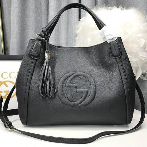 Fake Designer GUCCI 336751 SOHO GRAINY LEATHER SHOULDER BAGS RED