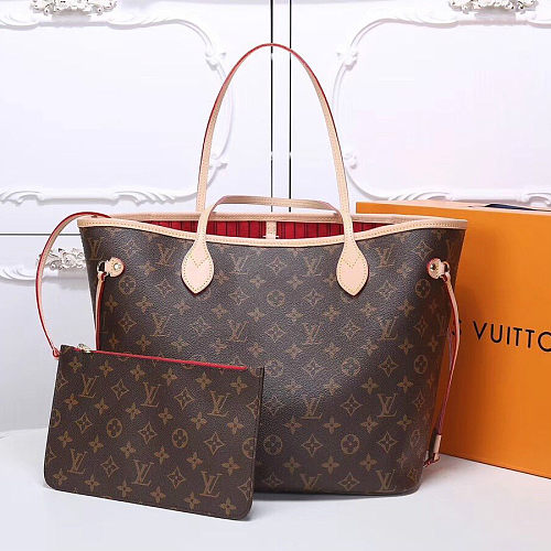 Faux Perfect LOUIS VUITTON Monogram Canvas Neverfull MM 40996 Red