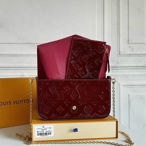 Supreme Wallet LOUIS VUITTON M61276 LV POCHETTE FELICIE BAG DARK RED 100735