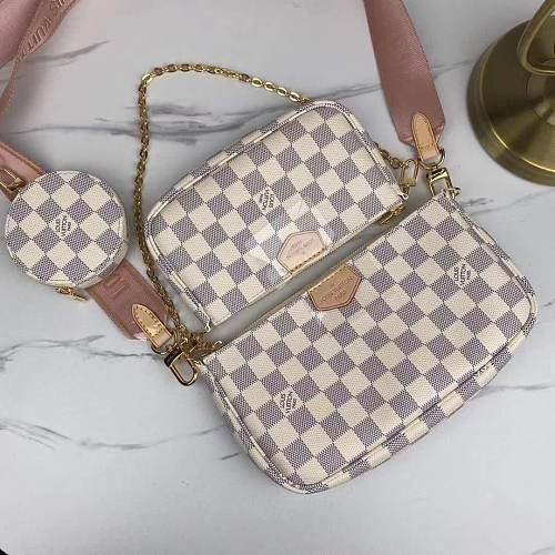 Louis Vuitton M44813 Multi Pochette Accessoires Crossbody Bags Handbags Purse Beige