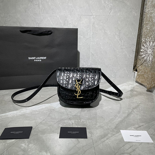 YSL 619740 KAIA SMALL SATCHEL IN CROCODILE-EMBOSSED LEATHER